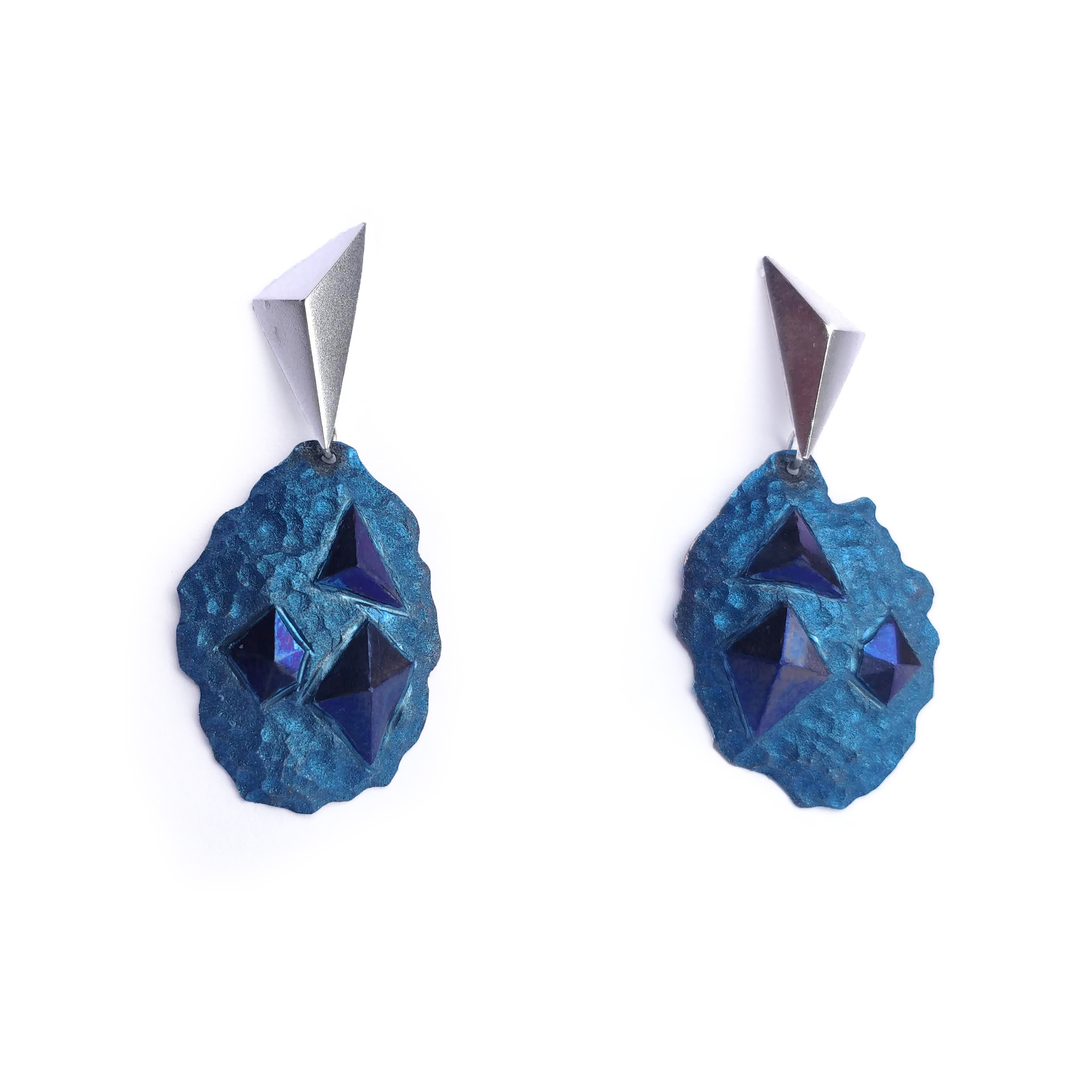 Alice Fry Blue niobium and silver rock earrings