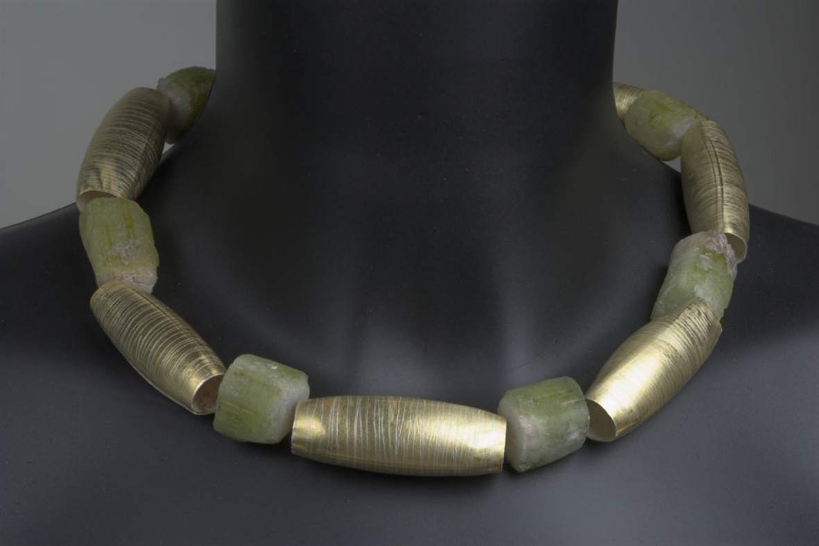 Jane Adam necklace 2010, silver, gold & tourmalines